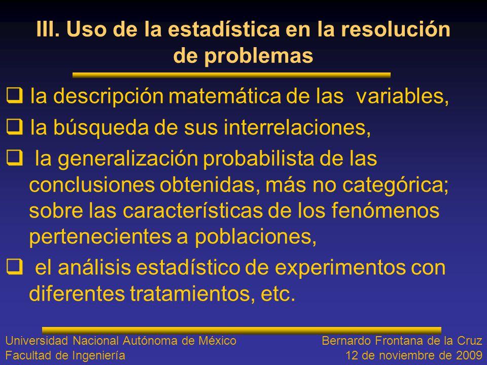 III. Uso de la estadística en la resolución de problemas
