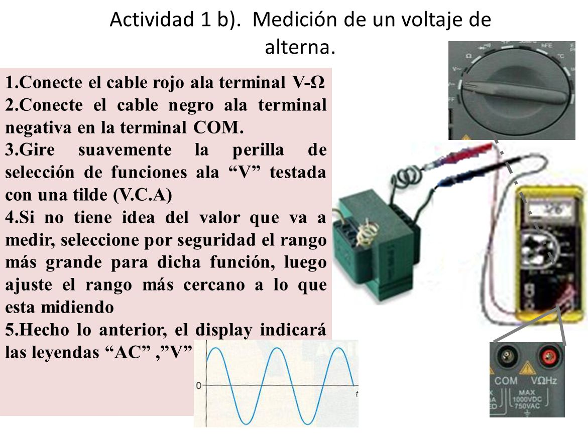 Actividad 1 b). Medición de un voltaje de alterna.