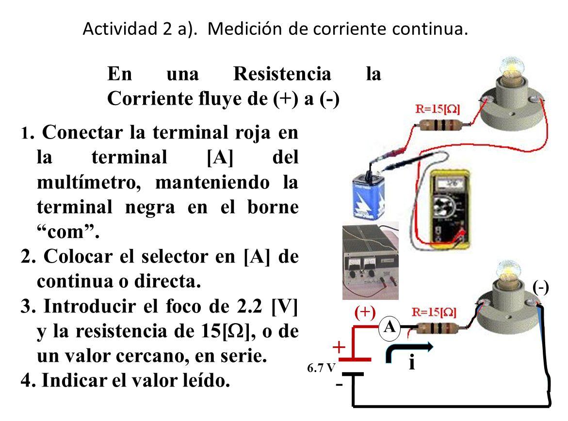 Actividad 2 a). Medición de corriente continua.