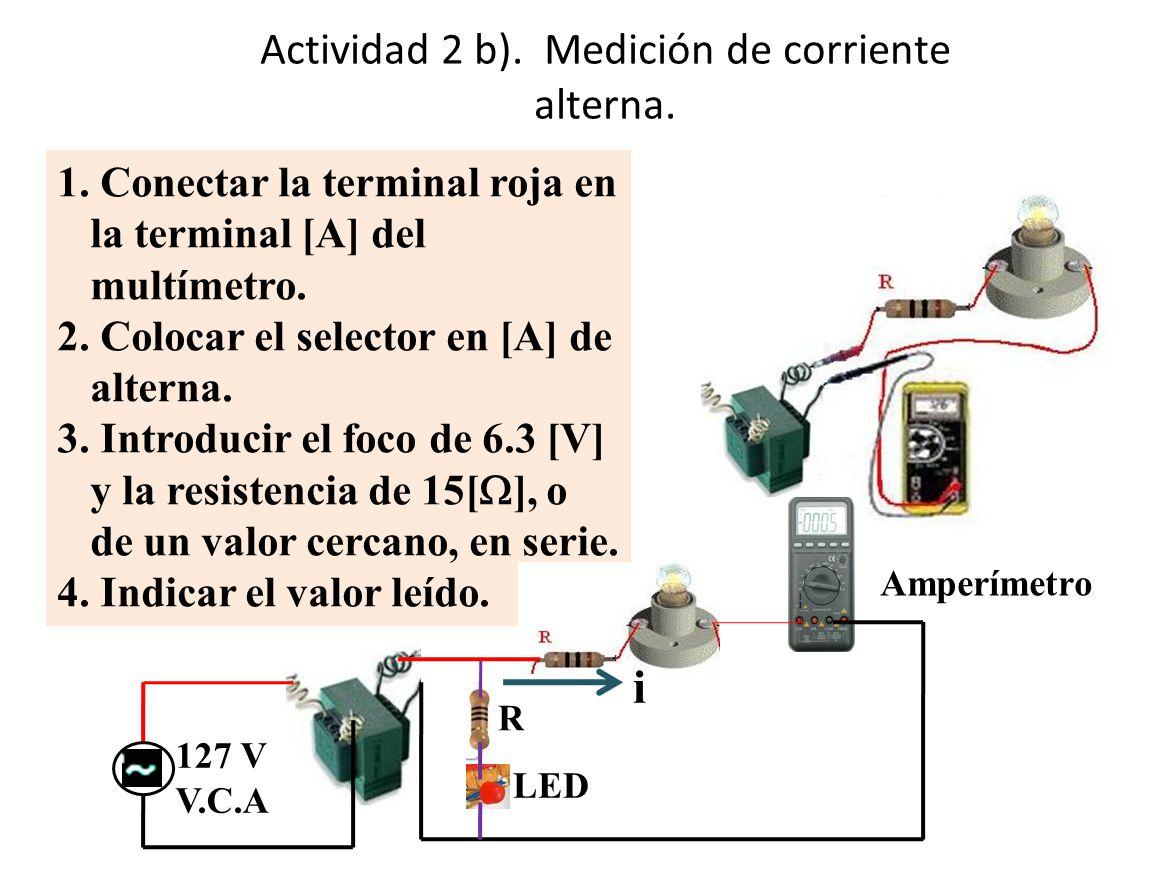 Actividad 2 b). Medición de corriente alterna.