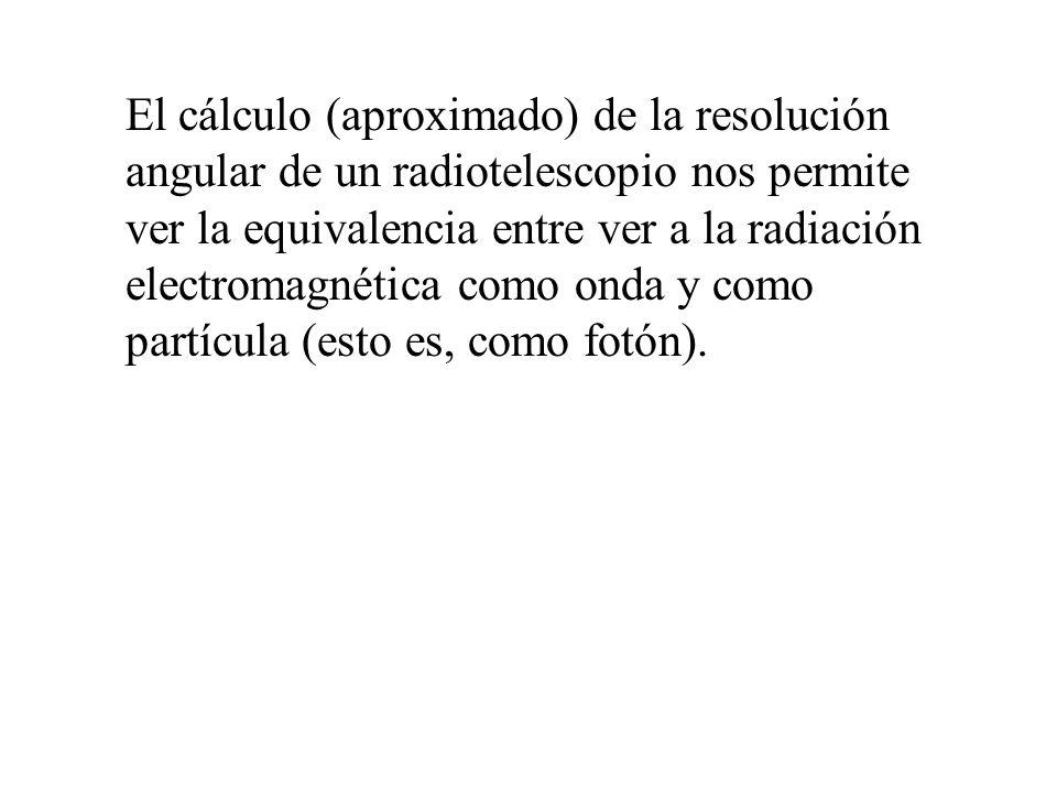 El cálculo (aproximado) de la resolución angular de un radiotelescopio nos permite ver la equivalencia entre ver a la radiación electromagnética como onda y como partícula (esto es, como fotón).