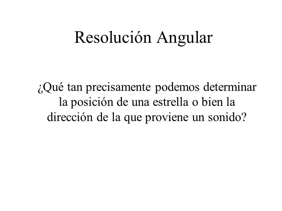 Resolución Angular ¿Qué tan precisamente podemos determinar la posición de una estrella o bien la dirección de la que proviene un sonido