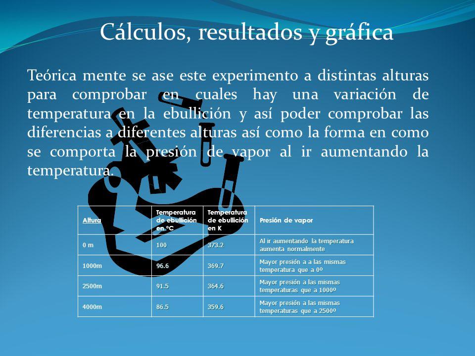 Cálculos, resultados y gráfica