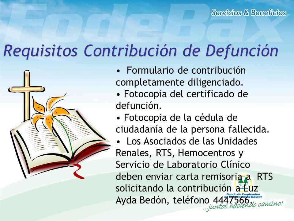 Requisitos Contribución de Defunción
