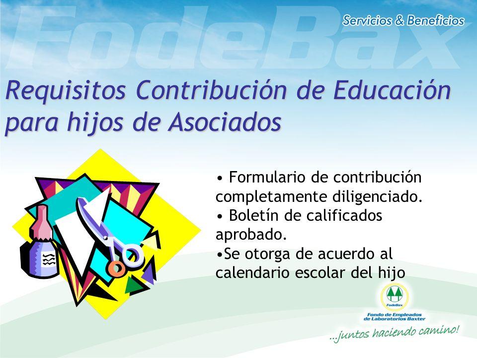 Requisitos Contribución de Educación para hijos de Asociados