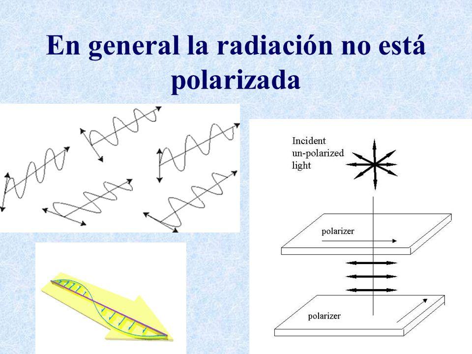 En general la radiación no está polarizada