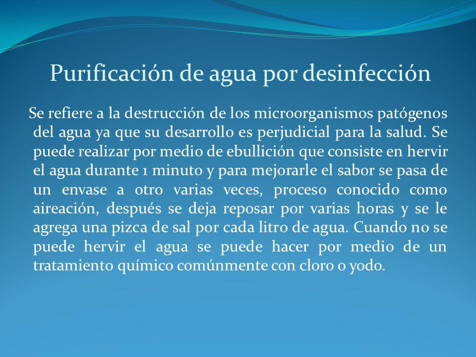 Purificación de agua por desinfección