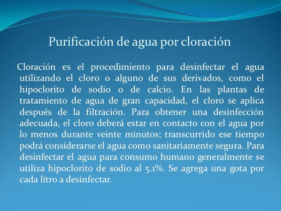 Purificación de agua por cloración
