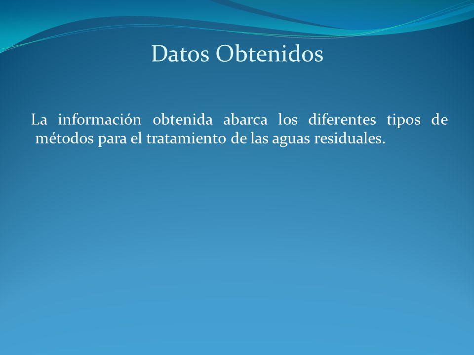 Datos Obtenidos La información obtenida abarca los diferentes tipos de métodos para el tratamiento de las aguas residuales.