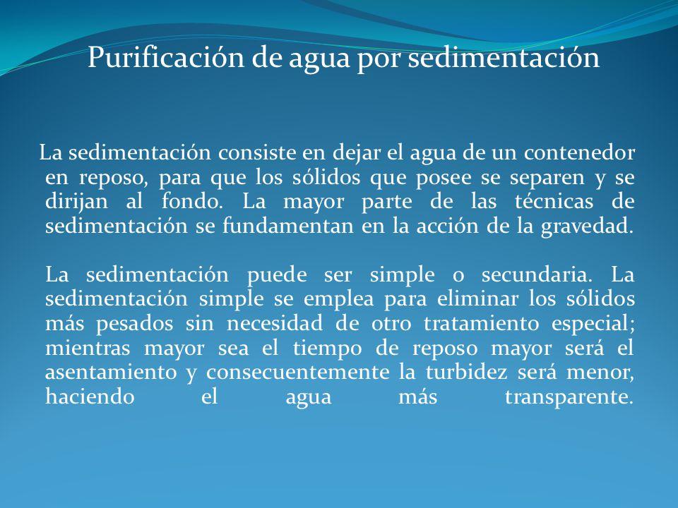 Purificación de agua por sedimentación