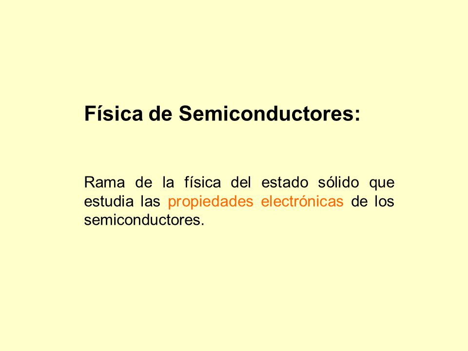Física de Semiconductores: