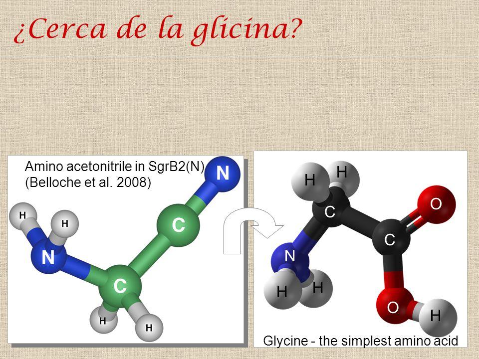 ¿Cerca de la glicina C N O H Amino acetonitrile in SgrB2(N)