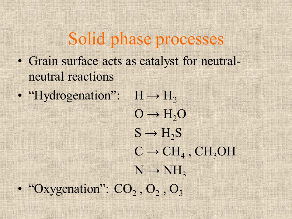 Solid phase processes Grain surface acts as catalyst for neutral-neutral reactions. Hydrogenation : H → H2.