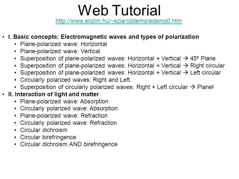 Web Tutorial http://www.enzim.hu/~szia/cddemo/edemo0.htm