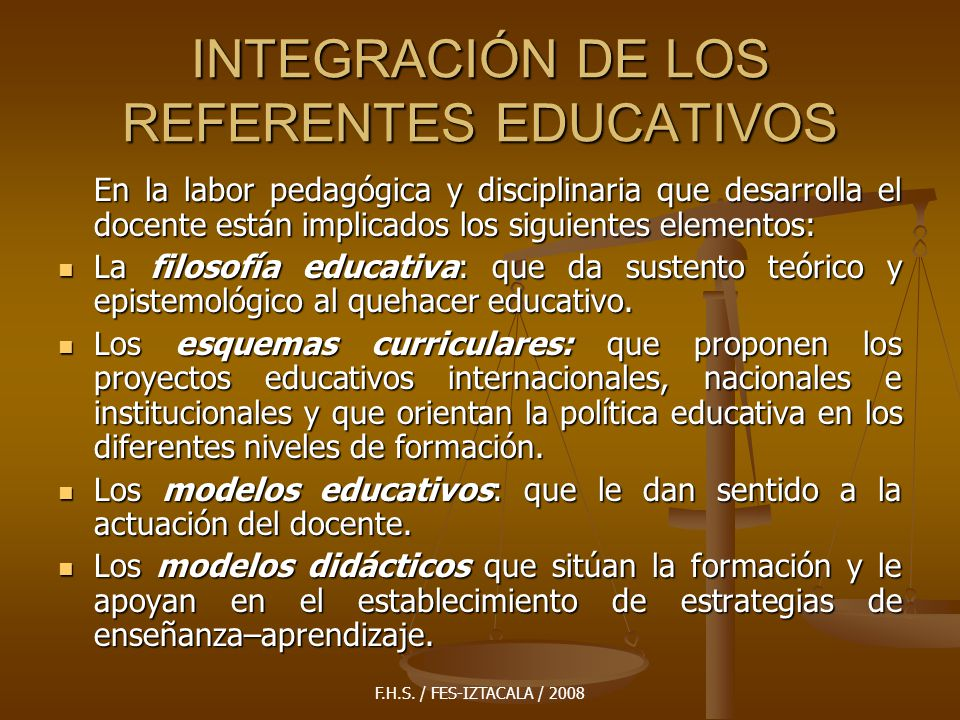 INTEGRACIÓN DE LOS REFERENTES EDUCATIVOS