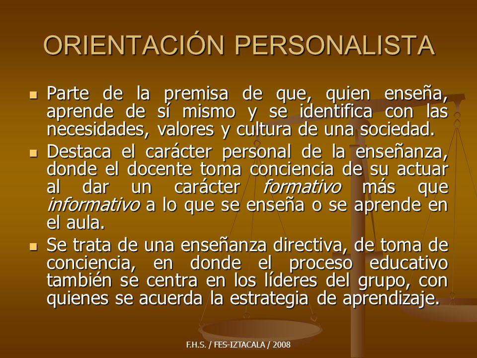 ORIENTACIÓN PERSONALISTA