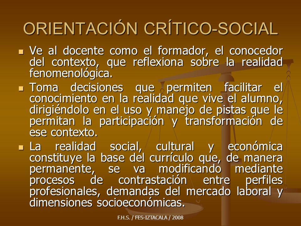 ORIENTACIÓN CRÍTICO-SOCIAL
