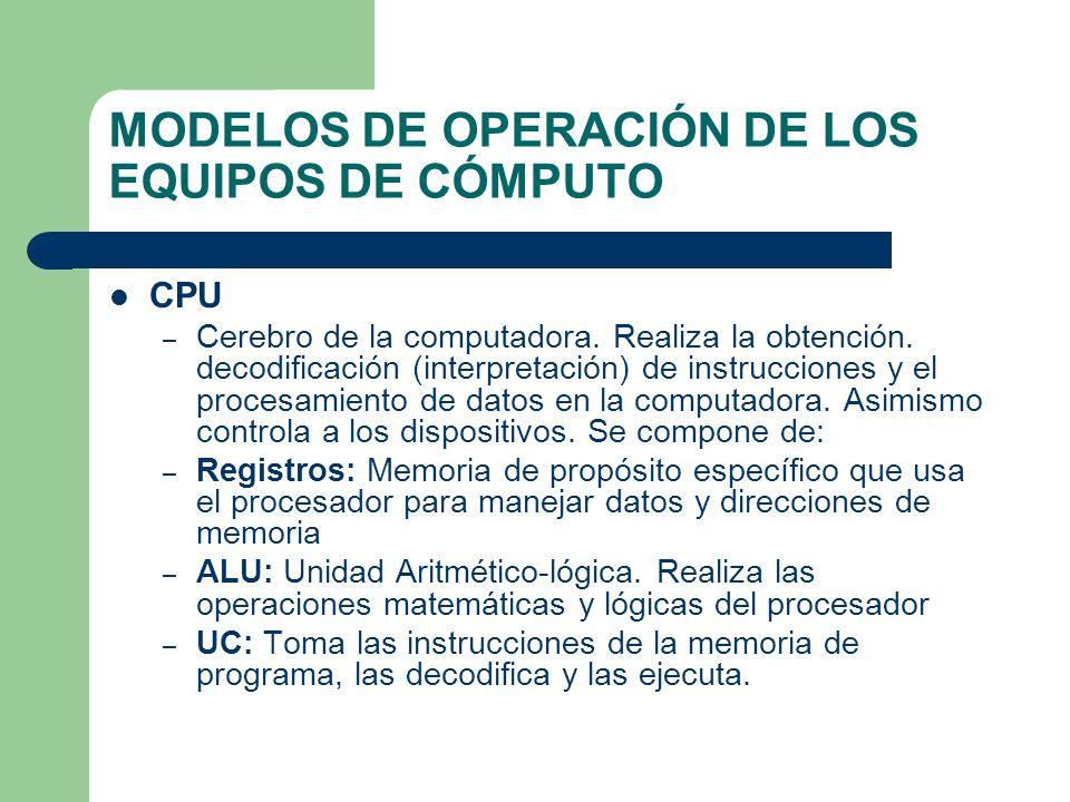 MODELOS DE OPERACIÓN DE LOS EQUIPOS DE CÓMPUTO