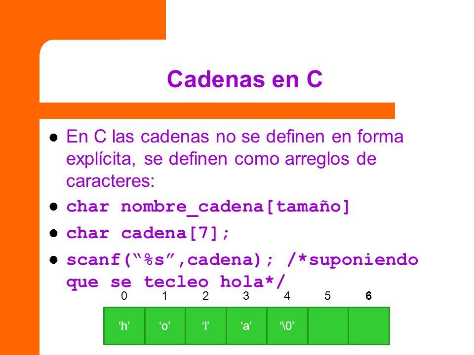 Cadenas en C En C las cadenas no se definen en forma explícita, se definen como arreglos de caracteres: