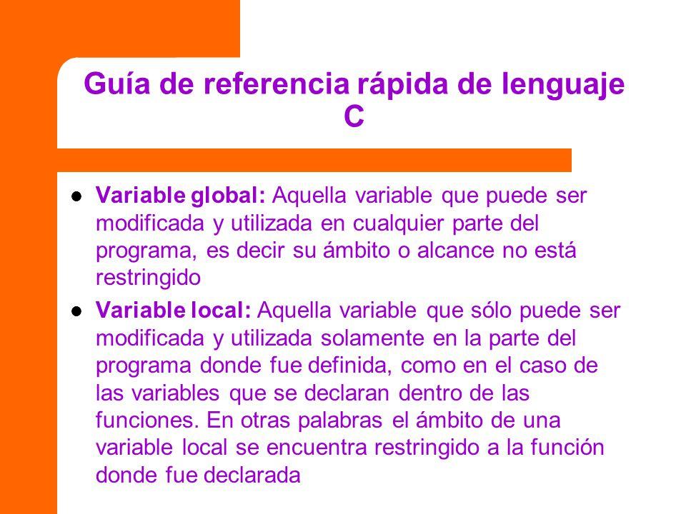 Guía de referencia rápida de lenguaje C