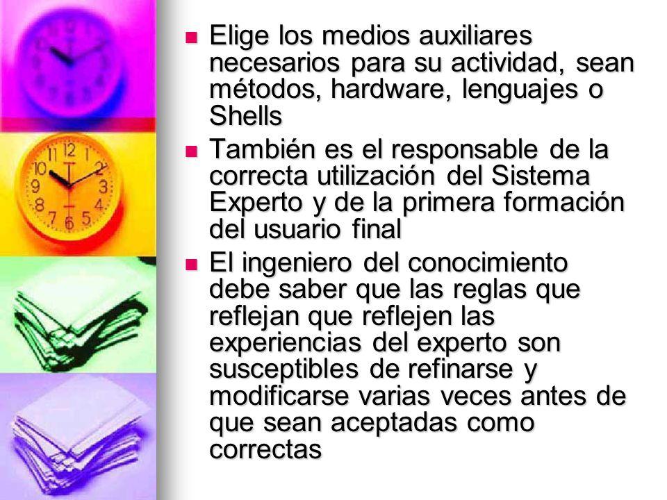 Elige los medios auxiliares necesarios para su actividad, sean métodos, hardware, lenguajes o Shells