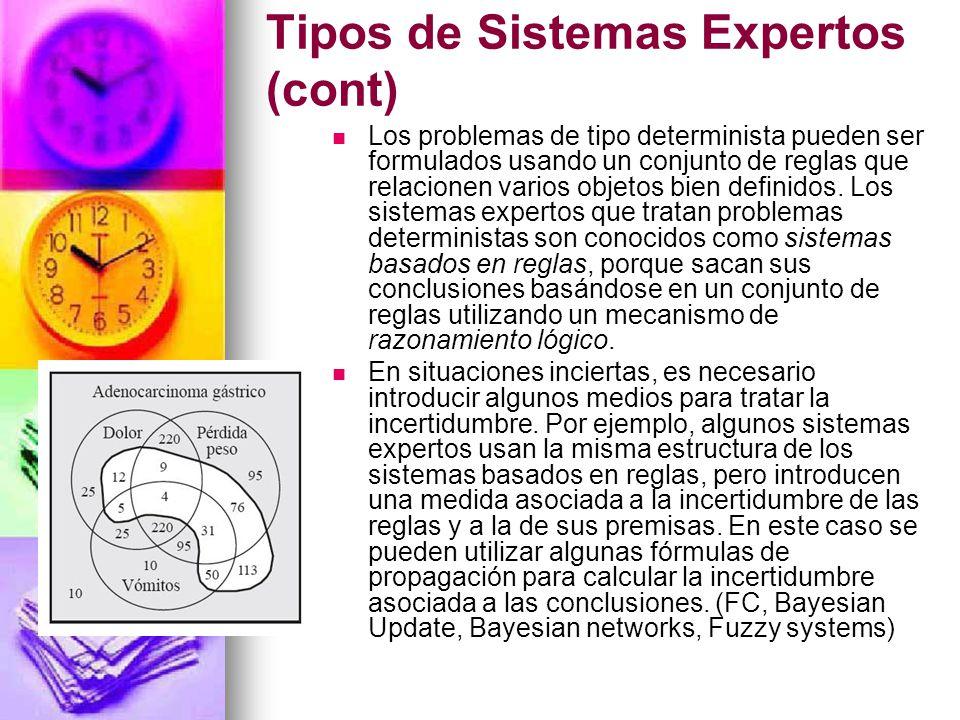Tipos de Sistemas Expertos (cont)