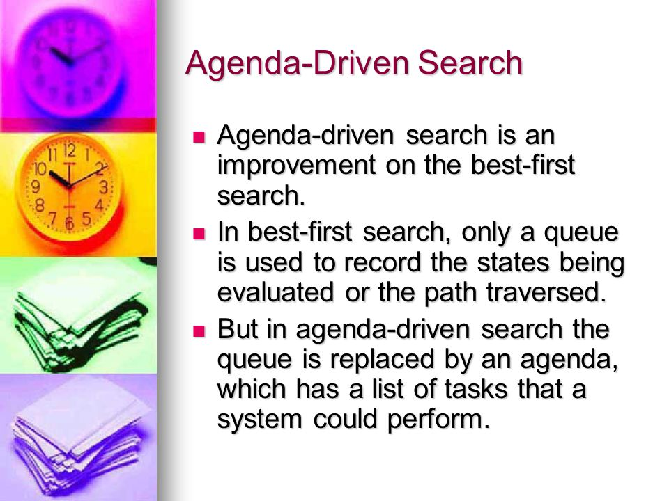 Agenda-Driven Search Agenda-driven search is an improvement on the best-first search.