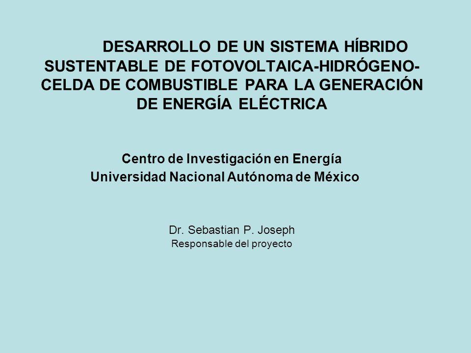 DESARROLLO DE UN SISTEMA HÍBRIDO SUSTENTABLE DE FOTOVOLTAICA-HIDRÓGENO-CELDA DE COMBUSTIBLE PARA LA GENERACIÓN DE ENERGÍA ELÉCTRICA Centro de Investigación en Energía Universidad Nacional Autónoma de México Dr.