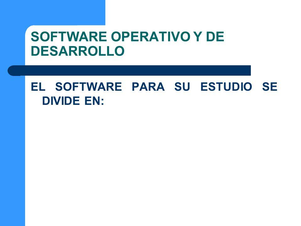 SOFTWARE OPERATIVO Y DE DESARROLLO