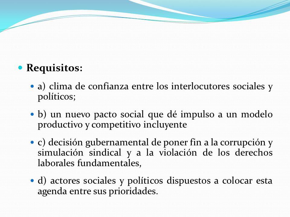 Requisitos: a) clima de confianza entre los interlocutores sociales y políticos;