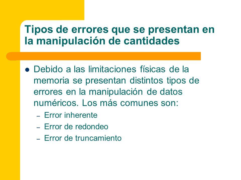 Tipos de errores que se presentan en la manipulación de cantidades