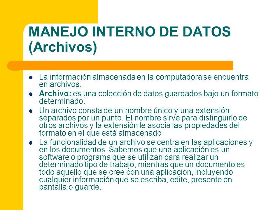 MANEJO INTERNO DE DATOS (Archivos)