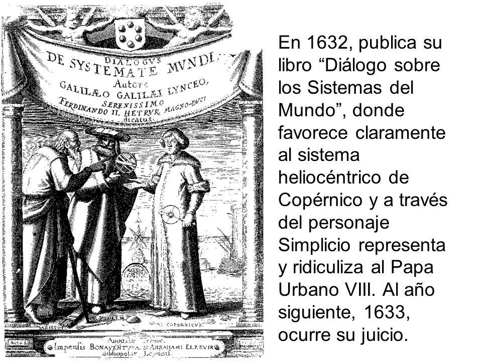En 1632, publica su libro Diálogo sobre los Sistemas del Mundo , donde favorece claramente al sistema heliocéntrico de Copérnico y a través del personaje Simplicio representa y ridiculiza al Papa Urbano VIII.