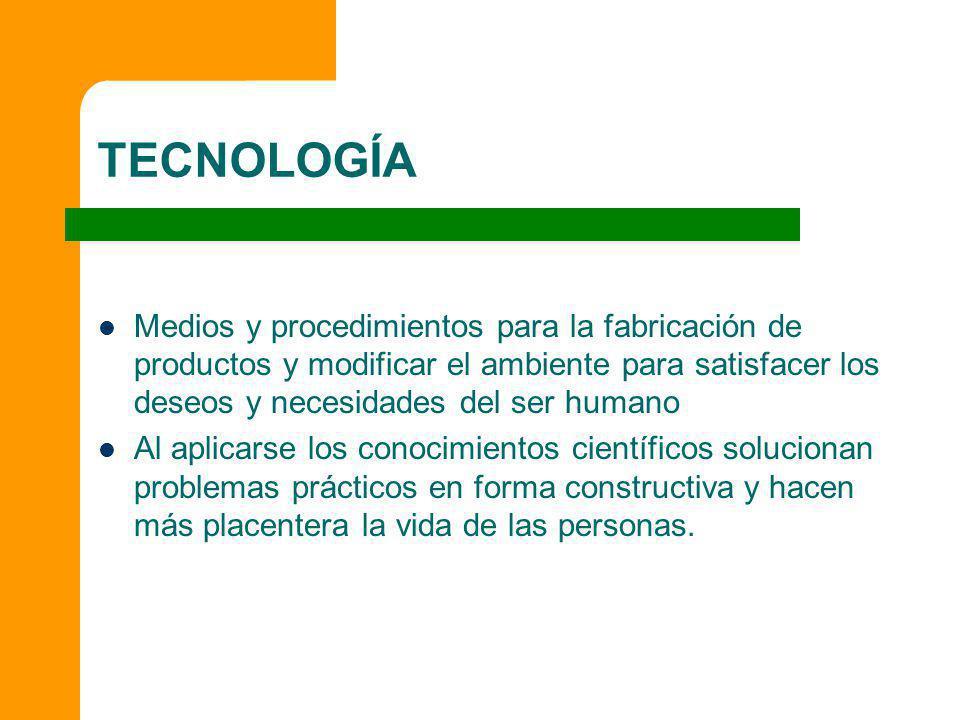 TECNOLOGÍA Medios y procedimientos para la fabricación de productos y modificar el ambiente para satisfacer los deseos y necesidades del ser humano.