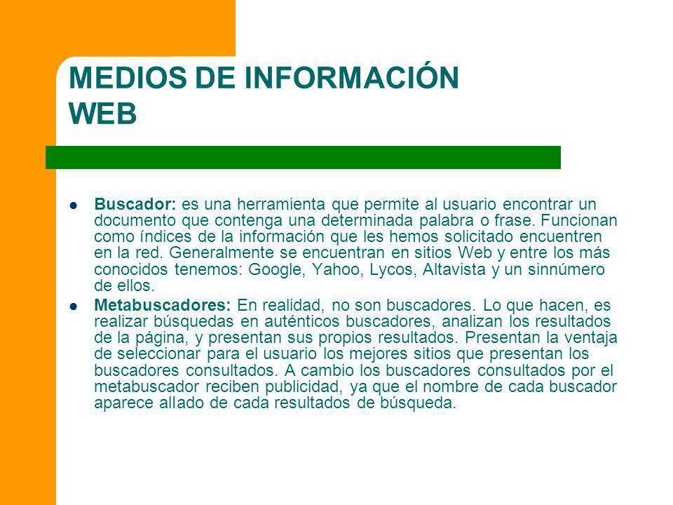 MEDIOS DE INFORMACIÓN WEB