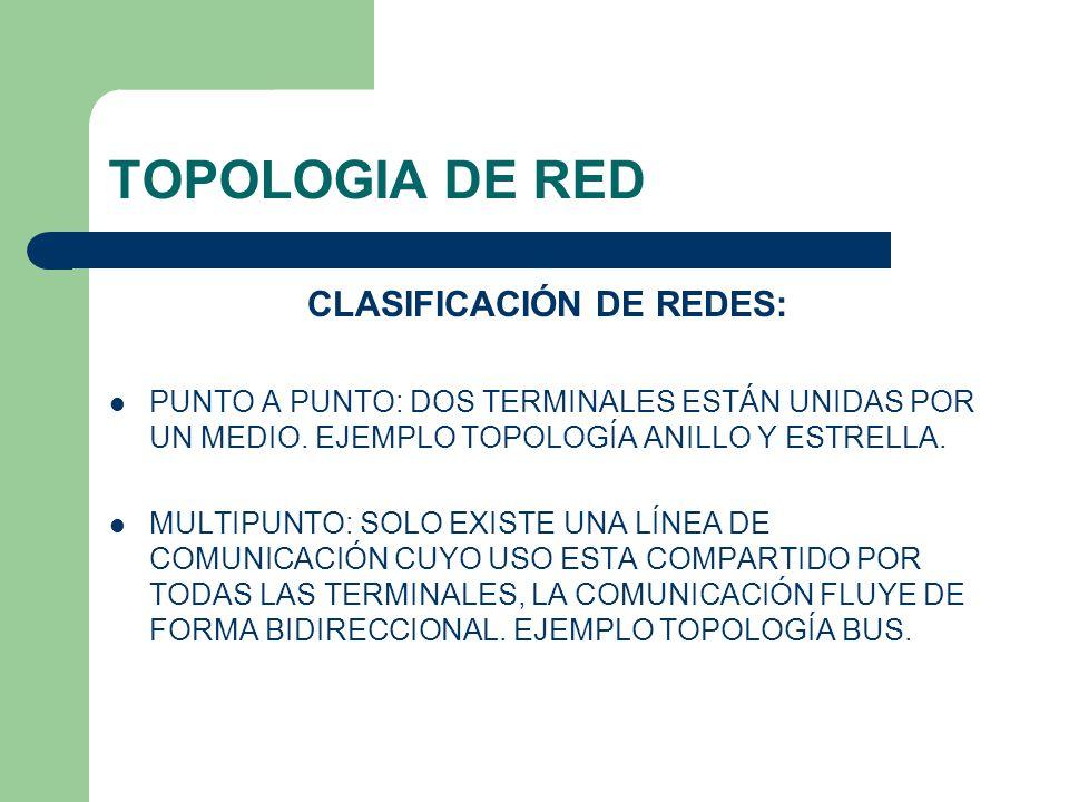 CLASIFICACIÓN DE REDES: