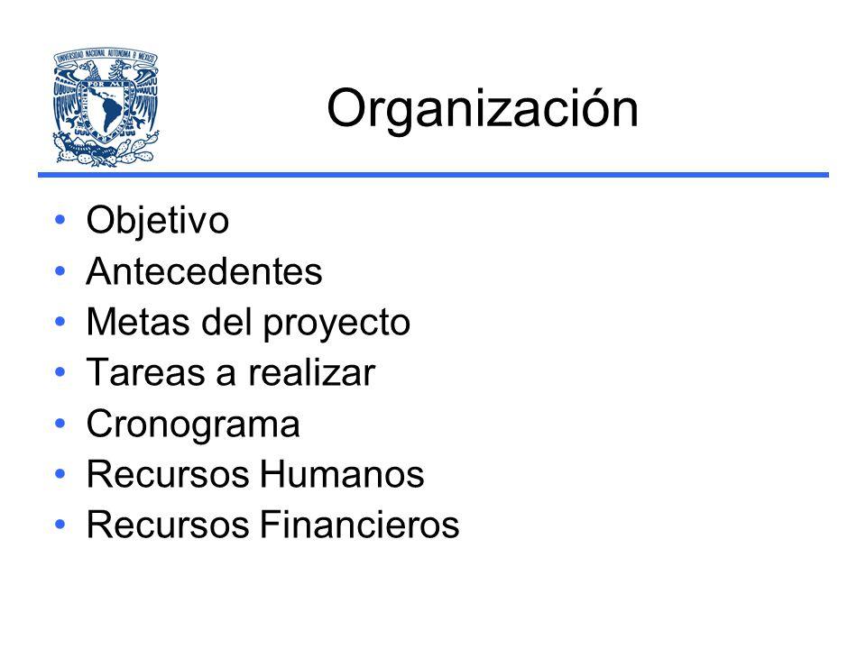 Organización Objetivo Antecedentes Metas del proyecto