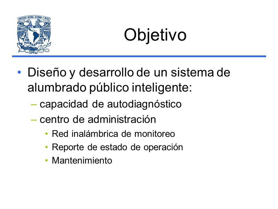 Objetivo Diseño y desarrollo de un sistema de alumbrado público inteligente: capacidad de autodiagnóstico.