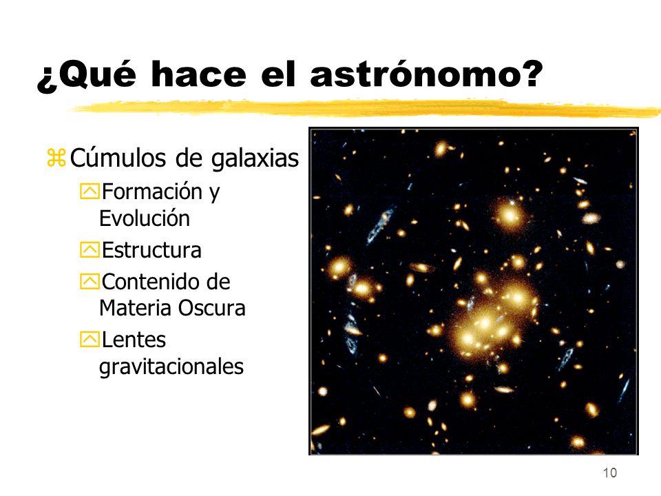 ¿Qué hace el astrónomo Cúmulos de galaxias Formación y Evolución