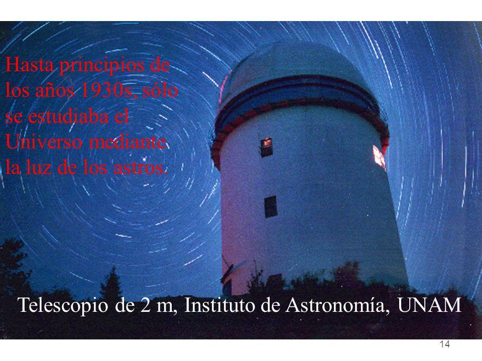 Hasta principios de los años 1930s, sólo se estudiaba el Universo mediante la luz de los astros.