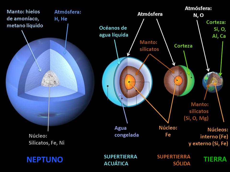 NEPTUNO TIERRA Atmósfera: N, O Manto: hielos de amoníaco,