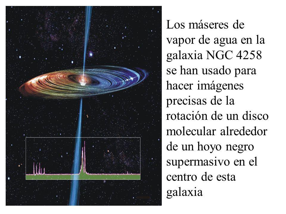 Los máseres de vapor de agua en la galaxia NGC 4258 se han usado para hacer imágenes precisas de la rotación de un disco molecular alrededor de un hoyo negro supermasivo en el centro de esta galaxia