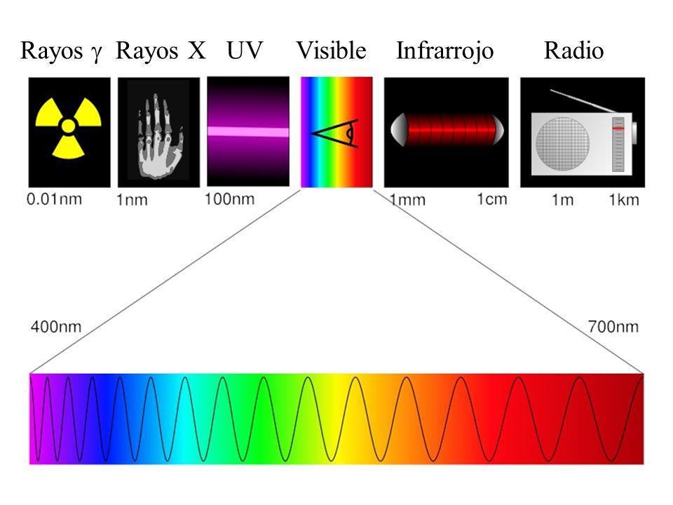 Rayos g Rayos X UV Visible Infrarrojo Radio