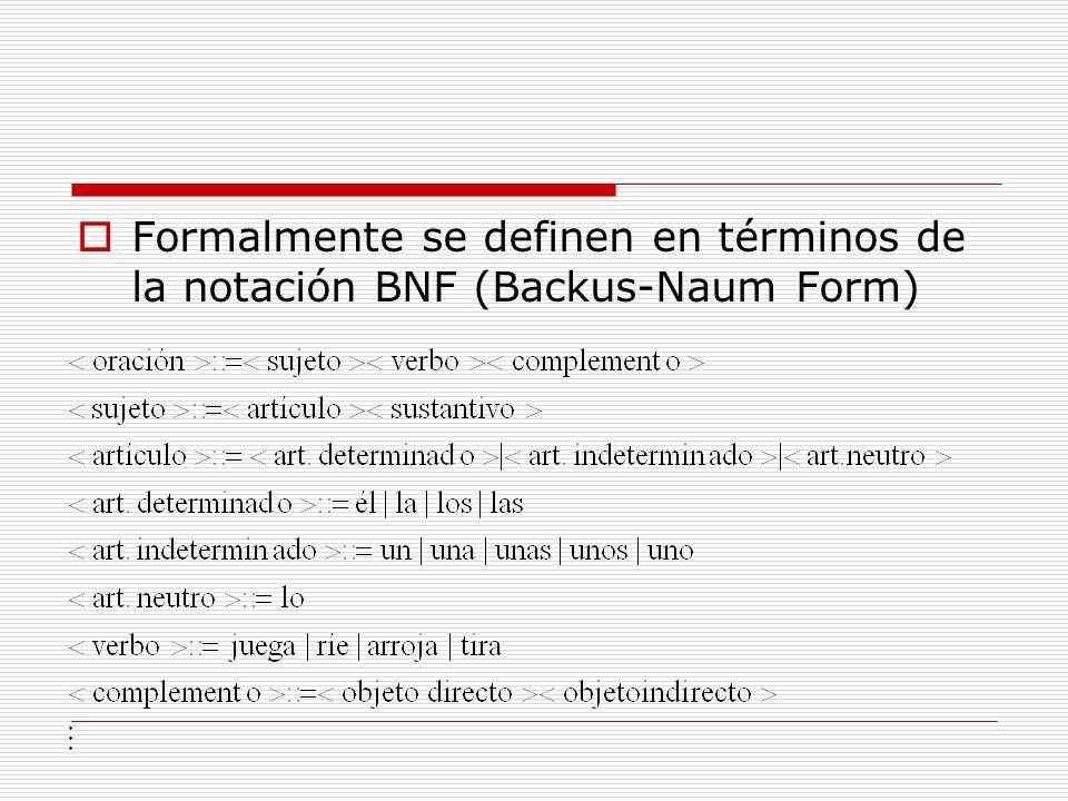 Formalmente se definen en términos de la notación BNF (Backus-Naum Form)