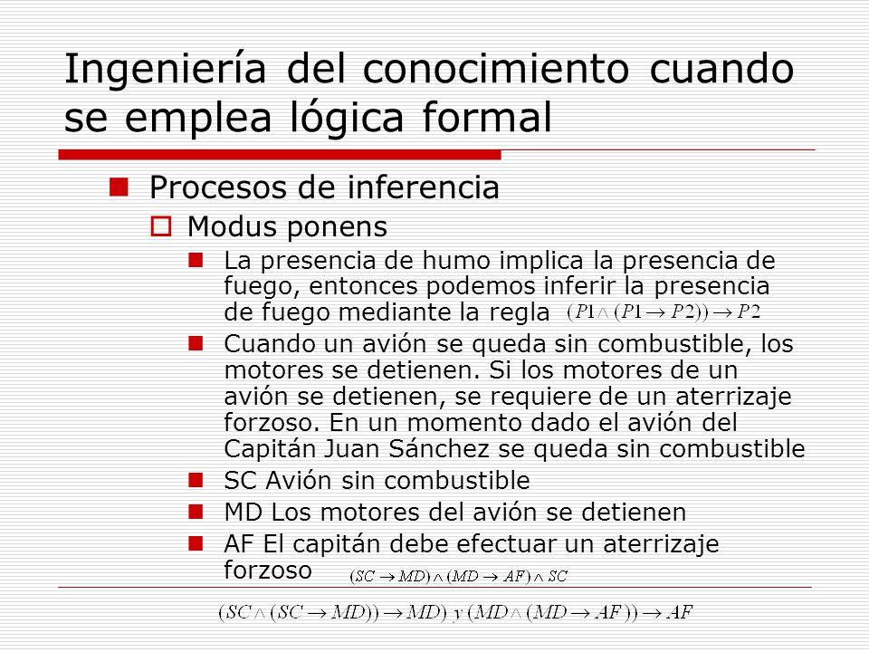 Ingeniería del conocimiento cuando se emplea lógica formal