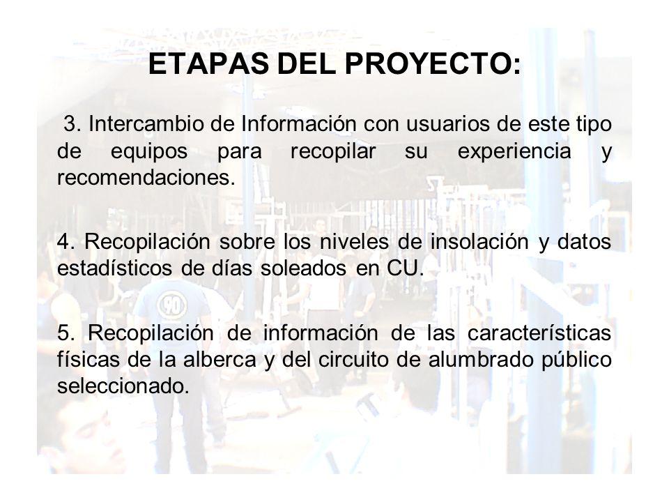 ETAPAS DEL PROYECTO: 3. Intercambio de Información con usuarios de este tipo de equipos para recopilar su experiencia y recomendaciones.