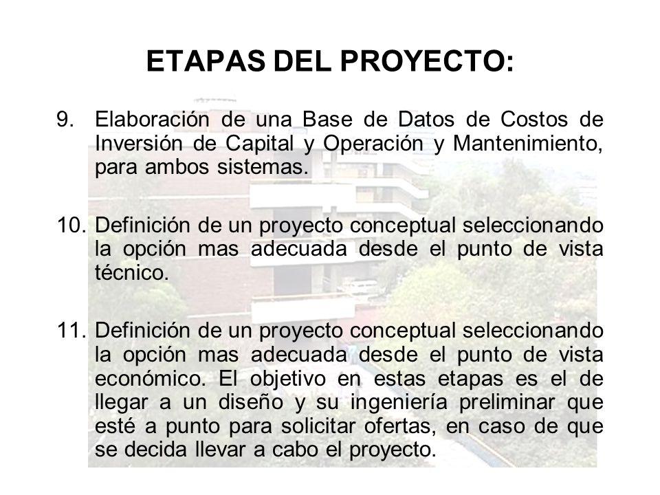 ETAPAS DEL PROYECTO: Elaboración de una Base de Datos de Costos de Inversión de Capital y Operación y Mantenimiento, para ambos sistemas.