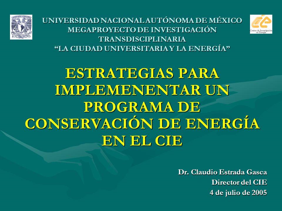 UNIVERSIDAD NACIONAL AUTÓNOMA DE MÉXICO MEGAPROYECTO DE INVESTIGACIÓN TRANSDISCIPLINARIA LA CIUDAD UNIVERSITARIA Y LA ENERGÍA