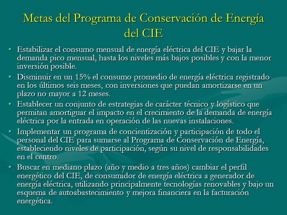Metas del Programa de Conservación de Energía del CIE