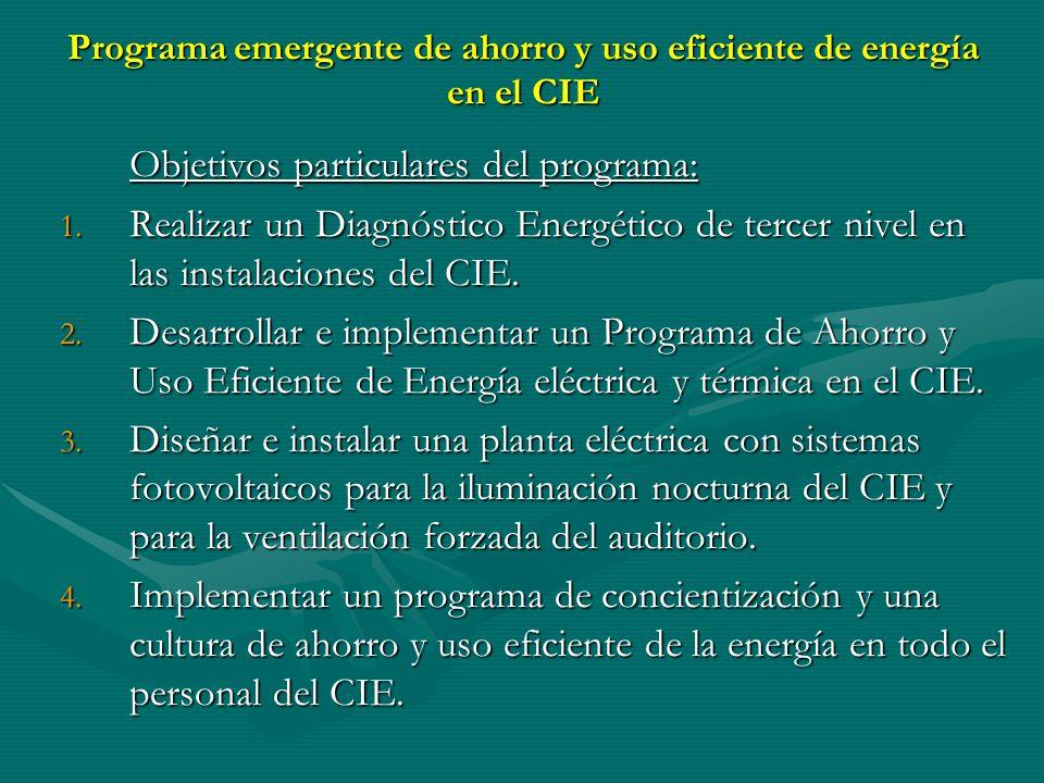 Programa emergente de ahorro y uso eficiente de energía en el CIE